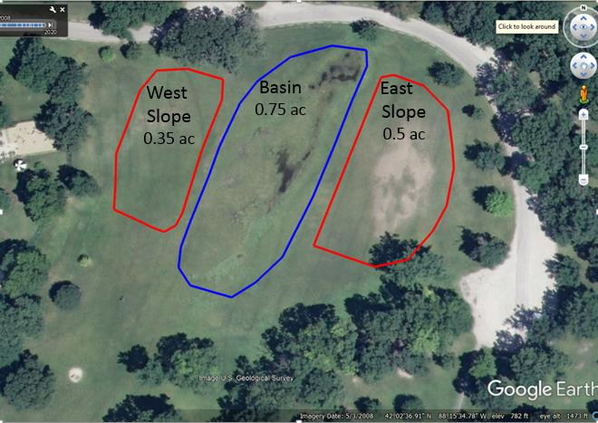 Aerials of TAP focus areas. The two red polygons represent the west and east slopes where thre are bare, compacted soils. The blue polygon is the Basin where recurring flooding occurs. Total area is approximately 1.6 acres.